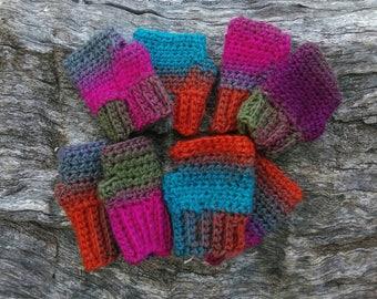 Childs crochet fingerless gloves