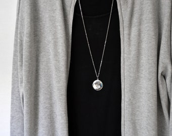 Simple long necklace etsy round silver locket pendant extra long 36 inch boho necklace simple layering chain super long mozeypictures Gallery