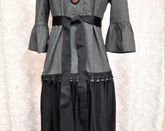 Long Victorian Coat, Black and Gray Victorian Jacket