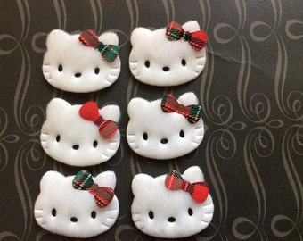 6 padded kitty Cat with Red and Green Plaid Bow appliques