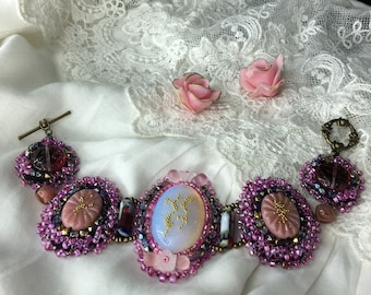 baroque bracelet embroidered beads cabochons 20 cm