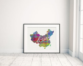 China Love - A Colorful Watercolor Style Wall Art Print & Home Country Map Artwork - Adoption, Moving, Engagement, Wedding Gift and More