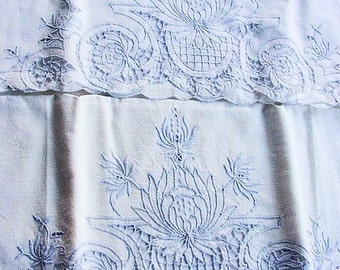MADEIRA Vintage Pair of  Cutwork Fancy Cotton PILLOWCASES Baby Blue Embroidery Scrolling Flowers Cottage Chic Romantic Decor Bridal Gift