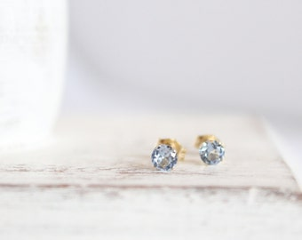 Aquamarine Studs - 14k Gold Post Earrings - Gemstone Earrings - March Birthstone Earrings - Simple Gold Posts - Light Blue Earrings