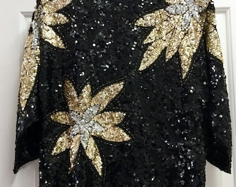 Vintage 80s Black and Gold Sequin Slouch Top / Large
