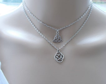 layered choker - silver choker - celtic jewellery - triquetra and celtic knot choker for women