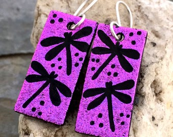 Dragonfly Dichroic Glass Earrings - Hand Etched Purple Glass Art