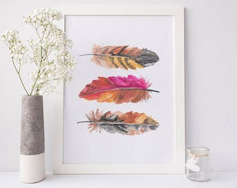 Bohemian Print, Feather Print, Feather Wall Art, Pink Printable, Watercolor Art Print, Boho Wall Art, Gift Idea for Women, Bohemian Chic Art