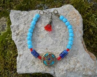 Bracelet Nepal pearl beads, turquoise howlite, lapis lazuli, coral beads beads, women gift, girl gift