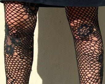 Sexy Handmade Black Fishnet Thigh High Stockings - Hand Crocheted with Lace Inserts