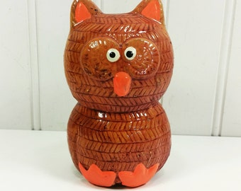 Orange Owl Piggy Bank, Ceramic Hand Painted Kitschy Owl Collectible