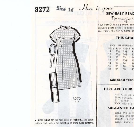 1960er Jahre Mantel Kleid geformt Joch Stehkragen PATT-O-RAMA