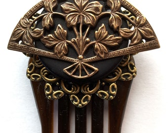 Fan Hair Comb - Brass Victorian Fan Hair Comb - Hair Ornament