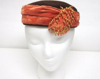 Brown Orange Pillbox Hat Beaded Velveteen