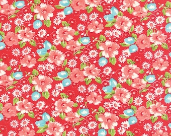 Sale Little Ruby cotton red floral fabric by Bonnie and Camille for Moda fabric