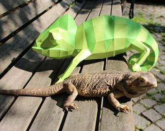 Chameleon papercraft - printable DIY pdf template