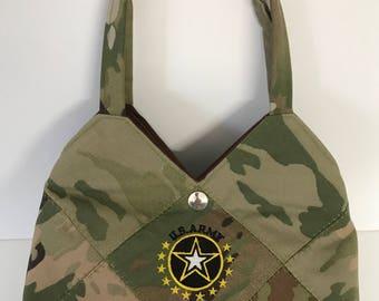 US ARMY CAMO - Ready Made Patchwork Medium Hobo Bag