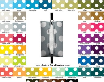 Auto Sneeze - Jumbo Polka Dots - PICK YOUR COLOR - Visor Tissue Case/Cozy - Car Accessory Automobile polkadots