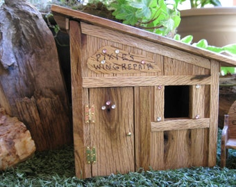 Fairy Garden House Wing Repair Shop Miniature OOAK Handmade House Cottage  Gnome Door