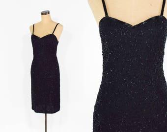 80s Beaded Party Dress | Sleeveless Silk Little Black Dress | Small