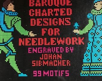 1975 Baroque Charted DEsigns for Needlework 99 motifs vintage paperback