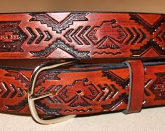 Handcrafted Leather Belt  with Thunderbird Southwest  Design