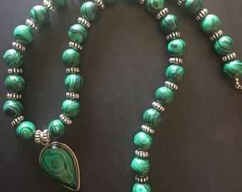 Malachite Beaded Necklace with Malachite Pendant