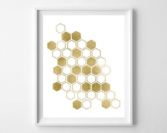 Honeycomb, gold honeycomb, gold foil honeycomb,  honeycomb printable, honeycomb print, Scandinavian art
