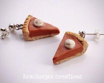 Pumkin pie earrings - polymer clay miniature food ear dangles