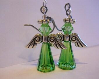 Spring Angel Earrings Swarovski crystal dangle earring Green Angel earring Spring Jewelry Angel Jewelry Angel EarringsMade in USA