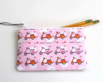 Zipper pouch You choose the size, Coin purse Pencil case Cosmetic Bag with Pink scooters Travel pouch Mother's day Graduation gift for her