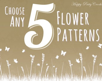 Pick Any 5 Patterns - Bundle Deal - Get a discount for Five Crochet Patterns of your choice
