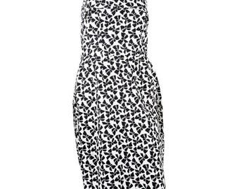 Yves Saint Laurent 1980s Strapless Cocktail Printed Dress