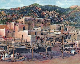 Vintage 1940's Linen Postcard from Taos Indian Pueblo, New Mexico