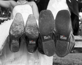 Wedding Signs, Hes Mine Shes Mine Wedding Shoe Stickers Decals