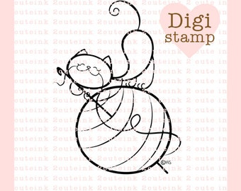 Crochet Cat Digital Stamp for Card Making, Paper Crafts, Scrapbooking, Hand Embroidery, Invitations, Stickers, Coloring Pages