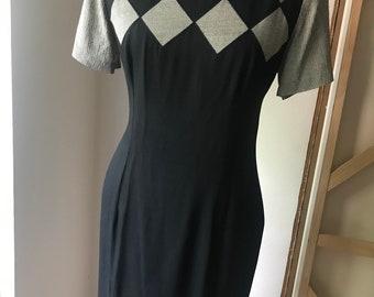 Lbd little black dress geometric pattern light weight material 80s 90s casual