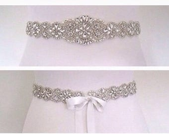 Bridal sash, bridal belt, wedding dress sash,  beaded bridal sash, crystal wedding dress belt
