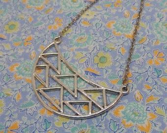 Half Circle Geometric Triangle Pendant Necklace