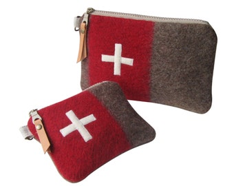Swiss Army bag gift set of 2 - Wool utility pouch-toiletry bag-unique-red Stripe -Swiss cross.Industrial military-Great  gift for guys