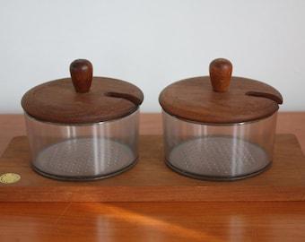 Vintage Teak Condiment Serving Set Made in Denmark