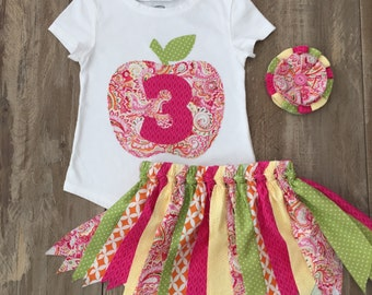 Girls 3rd Birthday Fall Outfit, Girls Apple Birthday Shirt with Matching Fabric Tutu, Autumn Birthday Set in Pink Yellow and Green