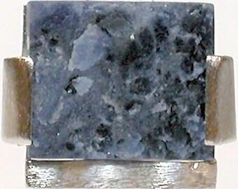 "Brazil Ring ""Pape/""  Rough Blue Stone & Silver"