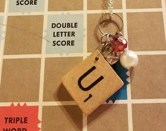 Scrabble tile U necklace