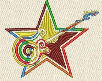 Rock star machine embroidery designs