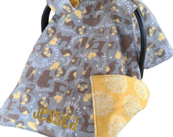 Woodland Car Seat Cover Baby Shower Gift Woodland Car Seat Canopy Woodland Carseat Cover Woodland Carseat Canopy Carseat Tent
