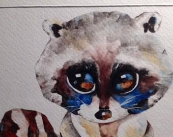 Hand Painted, Watercolor Greeting Card, OOAK, Original Artwork...Backyard Friends