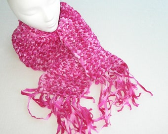 Pink Knit Scarf with Fringe / Bright Pink Knit Scarf