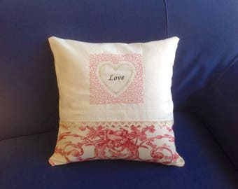 40 * 40 cm Cushion cover, embroidered Love heart