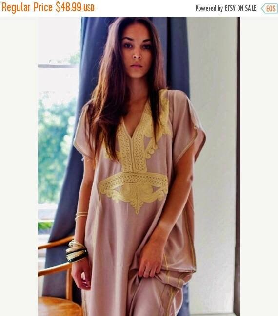 Kaftan Dress Bohemian Kaftan Beige Marrakech Resort Caftan-beach, resortwear,maxi dress, birthdays, honeymoon, summer dress,Ramadan, Eid